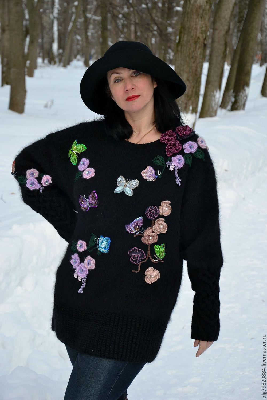 теплый вязаный свитер платье с вышивкой возвращение в эдем