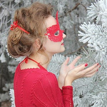 """Одежда ручной работы. Ярмарка Мастеров - ручная работа Вязаное вишневое бесшовное вечернее платье """"Зимняя вишня"""". Handmade."""