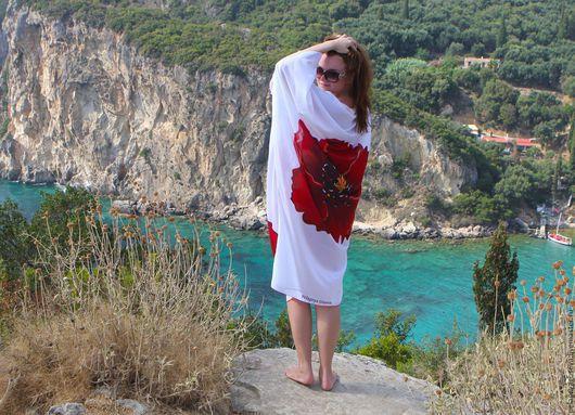 """Пляжные туники ручной работы. Ярмарка Мастеров - ручная работа. Купить Кимоно """"Маки"""". Handmade. Цветочный, пляжное платье, платье"""