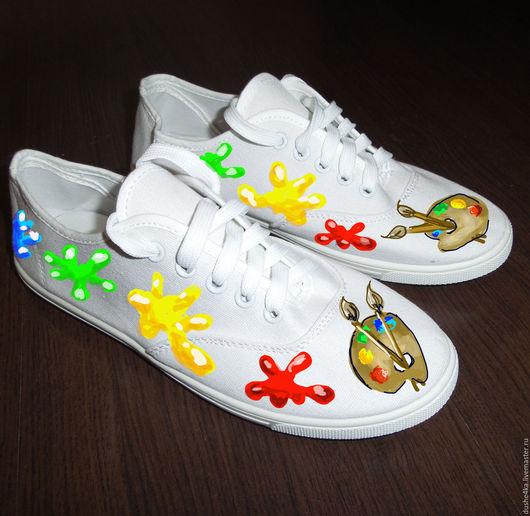 Обувь ручной работы. Ярмарка Мастеров - ручная работа. Купить Кеды женские с рисунком на заказ в подарок художнику. Handmade. Кеды