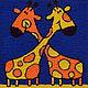 Животные ручной работы. Картина вязанная из пряжи Жирафы 30 х 30 см. Маскаева Ольга (maskaevadecor). Интернет-магазин Ярмарка Мастеров.