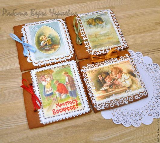 Подарки на Пасху ручной работы. Ярмарка Мастеров - ручная работа. Купить Пряничные пасхальные открытки 15 см в коробочке. Handmade.
