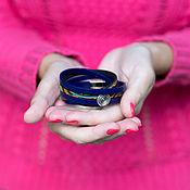 """Браслет из бусин ручной работы. Ярмарка Мастеров - ручная работа Кожаный браслет """"Франция"""". Handmade."""