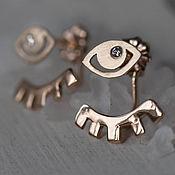 Украшения handmade. Livemaster - original item Gold earrings with diamonds - Delicate earrings - transformers - eye. Handmade.
