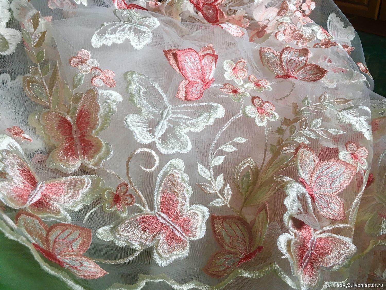Вышивка на сетке бабочки в двух вариантах, Ткани, Москва, Фото №1