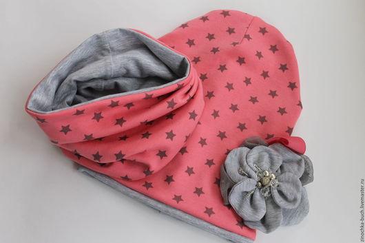 Шапки и шарфы ручной работы. Ярмарка Мастеров - ручная работа. Купить комплект снуд и шапка, шапка для девочки с цветком, снуд розовый. Handmade.