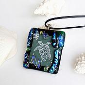 Украшения handmade. Livemaster - original item Sea turtle glass pendant, fusing glass. Handmade.