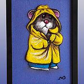 Для дома и интерьера ручной работы. Ярмарка Мастеров - ручная работа объемная картина шерстью  без стекла Хомяк 32 х 24 см. Handmade.