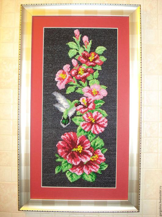 """Картины цветов ручной работы. Ярмарка Мастеров - ручная работа. Купить Вышитая картина смешанной техники """"Мальва и колибри"""". Handmade."""
