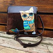 Сумки и аксессуары handmade. Livemaster - original item Custom Cat painted small zipped purse bag. Brown fall fashion shoulder. Handmade.