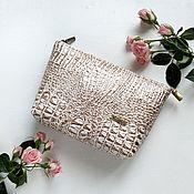 handmade. Livemaster - original item Eco-leather cosmetic bag with Croco-2 pocket. Handmade.