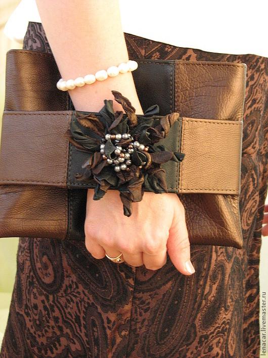 Женские сумки ручной работы. Ярмарка Мастеров - ручная работа. Купить Женская кожаная сумка-клатч. Handmade. Коричневый, клатч