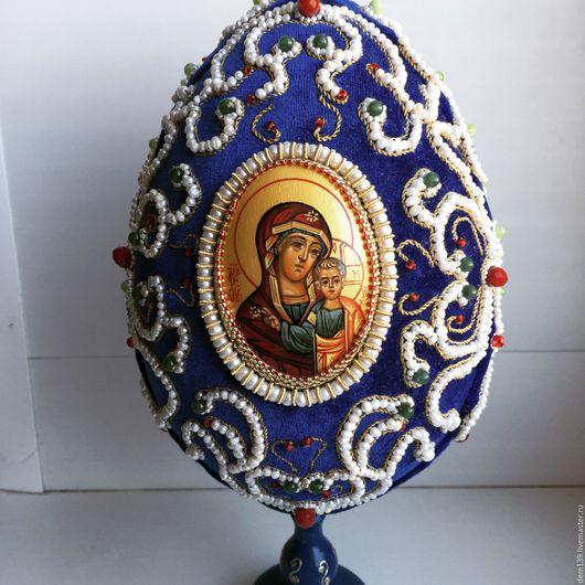 Яйца ручной работы. Ярмарка Мастеров - ручная работа. Купить Пасхальное яйцо. Handmade. Тёмно-синий, золотное шитьё