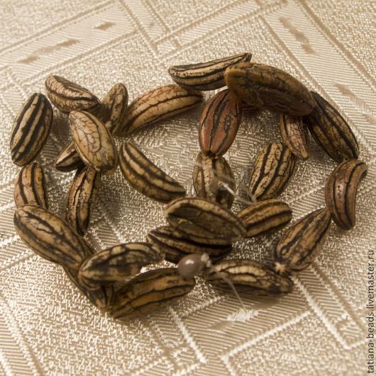 Для украшений ручной работы. Ярмарка Мастеров - ручная работа. Купить Бусины лодочки коричневые полосатые из ореха мангга 9х20 мм Филиппины. Handmade.