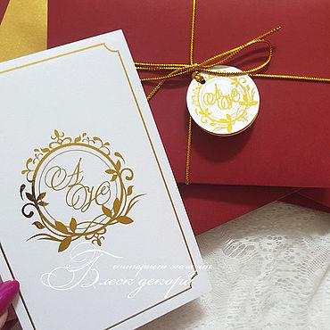Свадебный салон ручной работы. Ярмарка Мастеров - ручная работа Марсала и золото свадебные приглашения. Handmade.