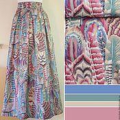 Одежда ручной работы. Ярмарка Мастеров - ручная работа Юбка с перьями лилово-мятными. Handmade.