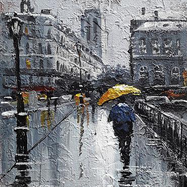 """Картины и панно ручной работы. Ярмарка Мастеров - ручная работа Картина """"Дождь"""". Handmade."""