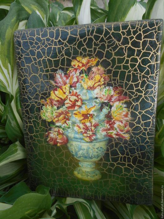Картины цветов ручной работы. Ярмарка Мастеров - ручная работа. Купить картина панно -Тюльпаны в вазе-. Handmade. Хаки