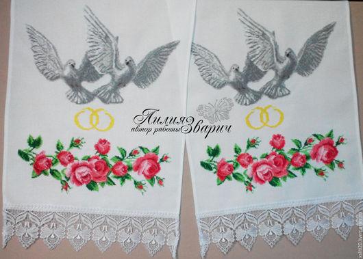 Свадебный рушник `Голуби`.  В наличии! Цена 800грн. Машинная вышивка крестиком.  На нем изображены голуби - символ любви и единства, мира и благополучия и розы- символы любви и нежности.