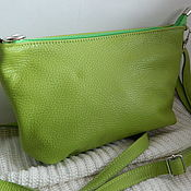 Сумки и аксессуары handmade. Livemaster - original item Leather bag. Crossbody bag. Clutch bag. green. Handmade.