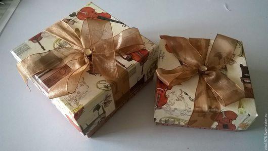 Подарочная упаковка ручной работы. Ярмарка Мастеров - ручная работа. Купить Коробка подарочная. Handmade. Коричневый, подарочная упаковка, лента