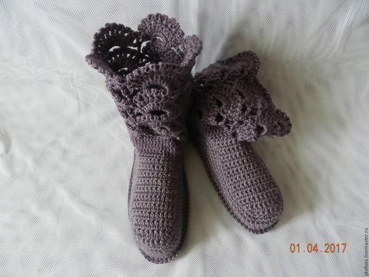 """Обувь ручной работы. Ярмарка Мастеров - ручная работа. Купить """"Ажур"""" сапожки для дома(38-39р-р), туманная сирень (подошва валяная). Handmade."""