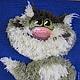 Животные ручной работы. Кот пушистый объемная картина из пряжи 38 х 38. Маскаева Ольга (maskaevadecor). Ярмарка Мастеров.