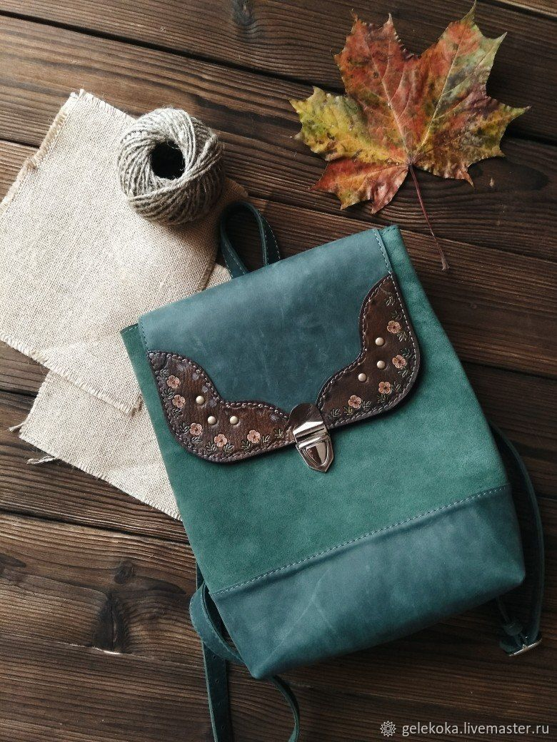Backpack made of genuine leather and suede 'Elvish' emerald, Backpacks, St. Petersburg,  Фото №1
