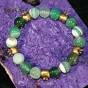 Bead bracelet handmade. Livemaster - original item Bracelet made of green agate on hand 17-18 cm. Handmade.