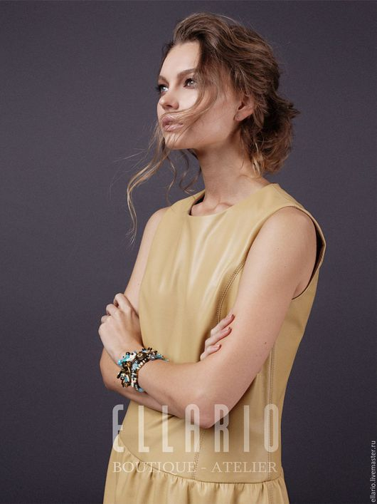 Платья ручной работы. Ярмарка Мастеров - ручная работа. Купить Платье кожаное GoldenPrime. Handmade. Оранжевый, женская одежда