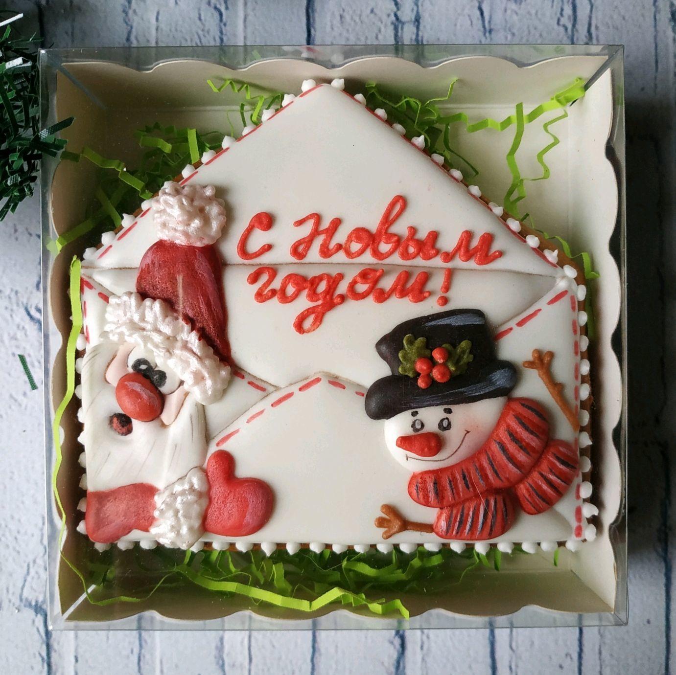 Пряник новогодняя открытка со снеговиком и Сантой, Пряники, Москва,  Фото №1