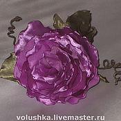 Украшения ручной работы. Ярмарка Мастеров - ручная работа Цветок из ткани Aтласная роза. Handmade.