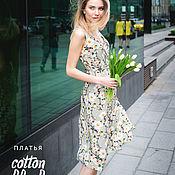 Одежда ручной работы. Ярмарка Мастеров - ручная работа Платье с запахом «Лёгкость», оливковый сад. Handmade.