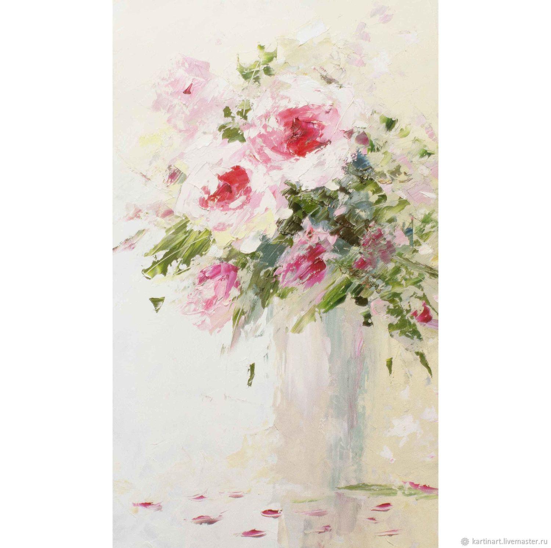 Картина Розовые розы в вазе маслом, 30 х 50см, Картины, Тимашевск, Фото №1