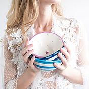 """Посуда ручной работы. Ярмарка Мастеров - ручная работа Мисочка """"Морская"""" сине-белая. Handmade."""