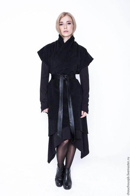 """Верхняя одежда ручной работы. Ярмарка Мастеров - ручная работа. Купить Кашемировое Пальто   """"sleeveless"""". Handmade. Черный, теплая одежда"""