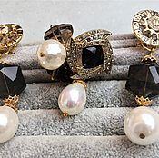 Jewelry Sets handmade. Livemaster - original item 20% Kit,gold,silver with Black onyx, pearls ,Topaz. Handmade.
