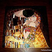 """Картины и панно ручной работы. Ярмарка Мастеров - ручная работа Картина на стекле по мотивам """"Поцелуй"""" Густава Климта. Handmade."""