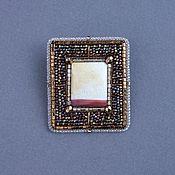 Украшения handmade. Livemaster - original item Brooch SUNRISE IN THE DESERT jasper, beads, kanitel, leather, beads. Handmade.