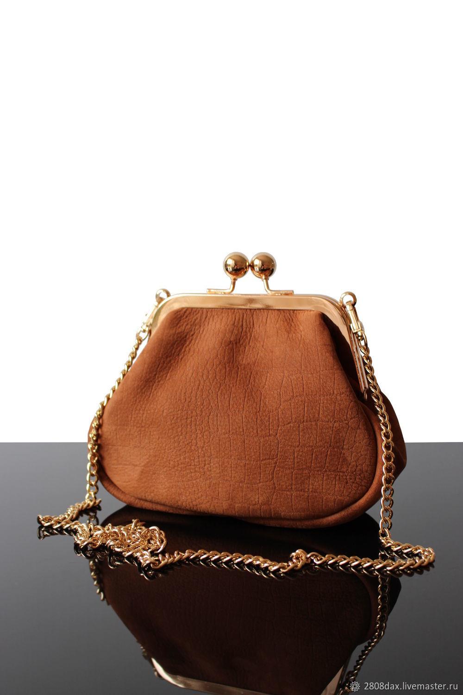 Small Women's suede brown handbag, Classic Bag, Bordeaux,  Фото №1