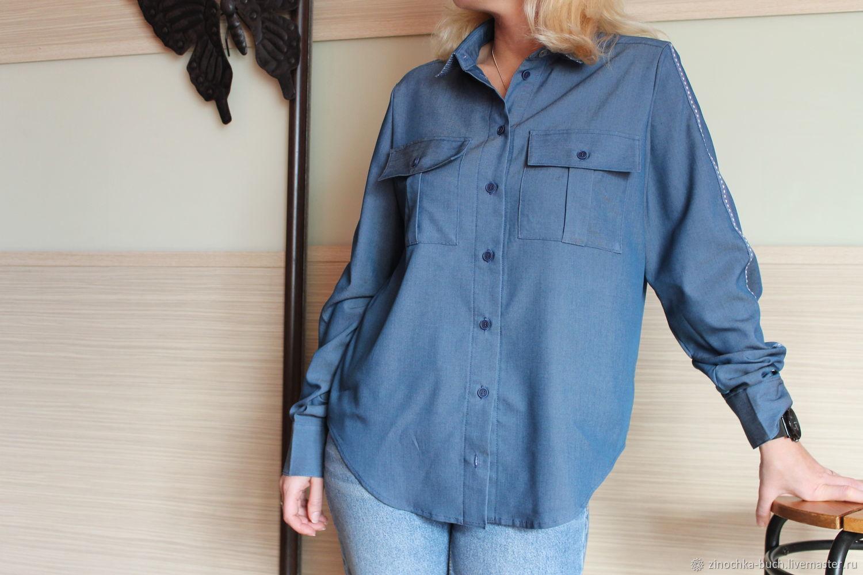 1245e4d36bf Блузки ручной работы. Ярмарка Мастеров - ручная работа. Купить Джинсовая  женская рубашка синего цвета ...