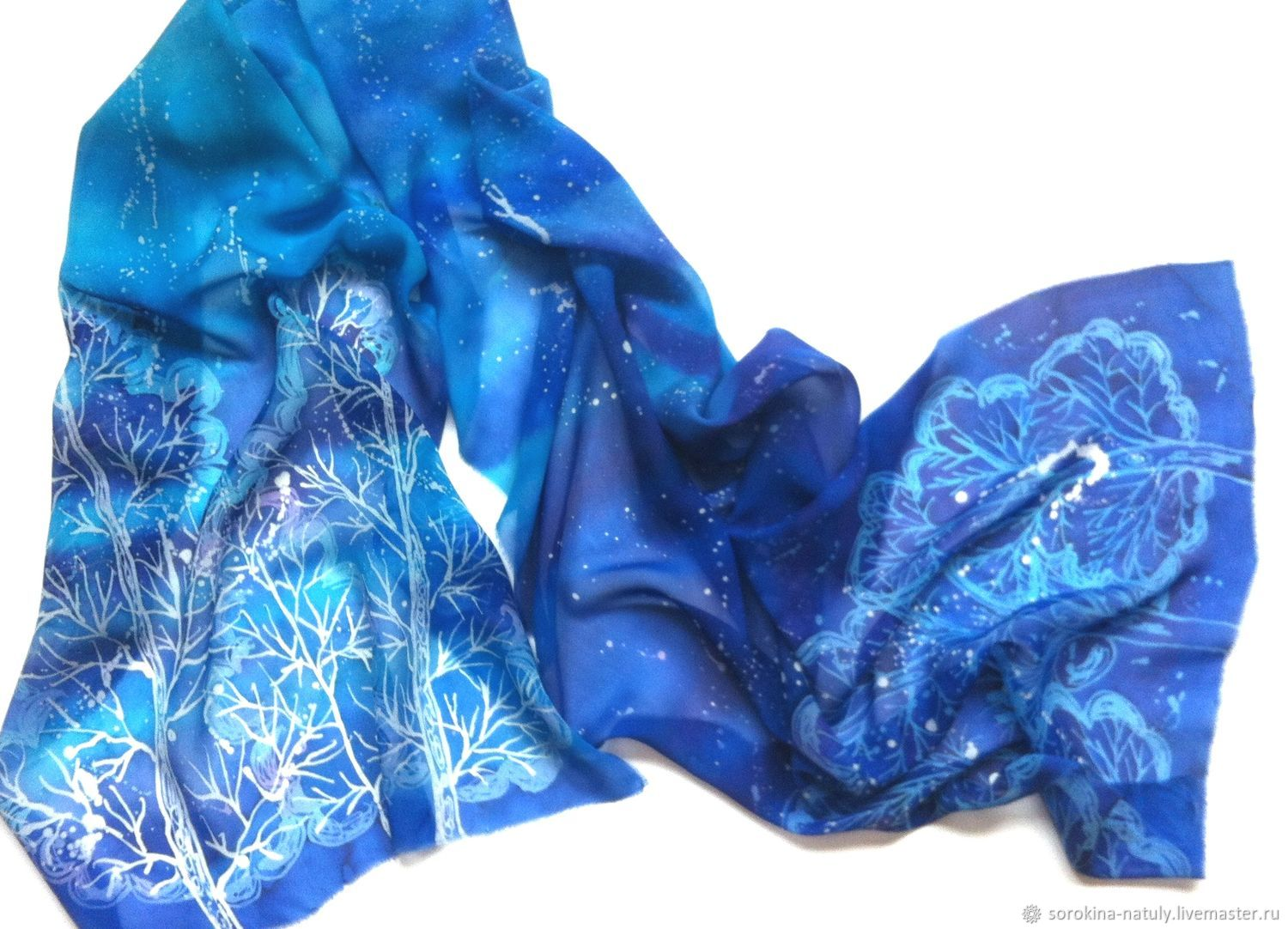 Scarves and scarves Handmade Buy batik silk scarf Tesniny forest Batik from Natasha Sorokina Handmade Batik scarf for Women Chiffon scarf to Buy a gift for the new year is 2018 Winter Forest Snow Blue