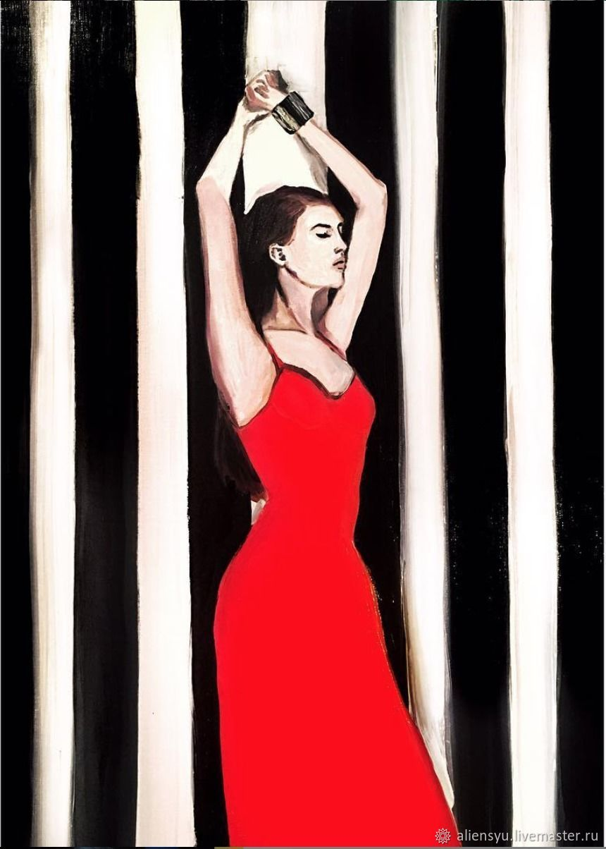 Oil painting 'Girl in red dress', Pictures, Moscow,  Фото №1