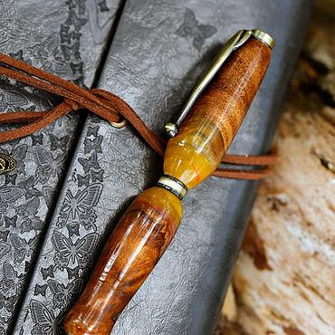 Дизайн и реклама ручной работы. Ярмарка Мастеров - ручная работа Янтарная деревянная шариковая ручка Слимлайн. Handmade.