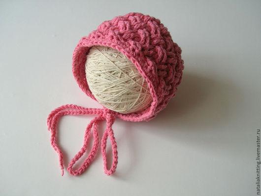 """Для новорожденных, ручной работы. Ярмарка Мастеров - ручная работа. Купить Чепчик """"Плетенка"""". Handmade. Розовый, чепчик крючком"""