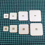 Материалы для творчества ручной работы. Ярмарка Мастеров - ручная работа IVL-414-3 Пуговица квадратная набор 10 шт, декоративные элементы. Handmade.