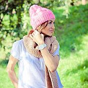 """Аксессуары ручной работы. Ярмарка Мастеров - ручная работа Вязаный объемный шарф """"Бежевый"""". Handmade."""