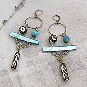 Украшения handmade. Livemaster - original item Large Boho earrings with mother of pearl and agate dzi
