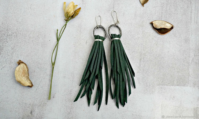 Emerald suede earrings, with cubic Zirconia ' Dancing', Earrings, Moscow,  Фото №1