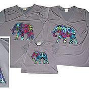 Одежда ручной работы. Ярмарка Мастеров - ручная работа Одинаковые футболки для всей семьи. Handmade.